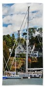 Fall And The Sailboats Beach Towel