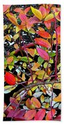Fall Blueberry Bush Beach Towel