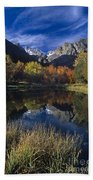 Fall Color And Reflection Below Middle Palisades Glacier California Beach Towel