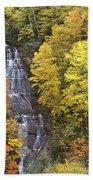 Fall Color Surrounds Chapel Falls On The Michigan Upper Peninsula Beach Towel