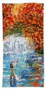 Fall Fishing Beach Towel
