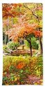Fall Folage And Pond Beach Towel