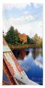 Fall Landscape Old Bridge Maine Beach Towel