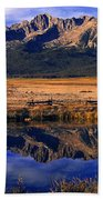 Fall Reflections Sawtooth Mountains Idaho Beach Towel