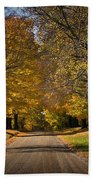 Fall Rural Country Gravel Road Beach Towel