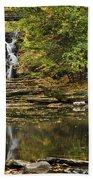 Fall Waterfall Creek Reflection Beach Towel by Christina Rollo