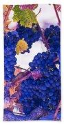 Fall Wine Grapes Beach Towel
