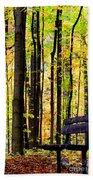 Fall Woods In Michigan Beach Towel