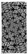 Fallen Leaves Black And White Kaleidoscope Beach Towel