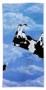 Falling Cows Beach Towel