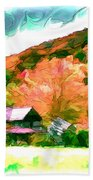 Falling Farm Blended Art Styles Beach Towel