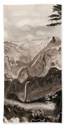 Falls Of The Yosemite Painting Beach Towel