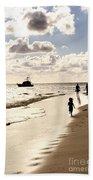 Family On Sunset Beach Beach Towel
