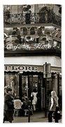 Famous Cafe De Flore - Paris Beach Towel by Carlos Alkmin