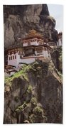 Famous Tigers Nest Monastery Of Bhutan 12 Beach Towel