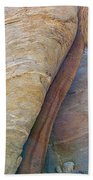 Fan Palm Forced Into A Slant By Rock In Andreas Canyon-ca Beach Towel