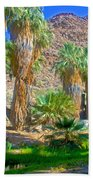 Fan Palms By The Creek In Lower Palm Canyon In Indian Canyons Near Palm Springs-california Beach Towel