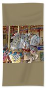 Fanciful Carousel Ponies Beach Towel