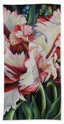 Fancy Parrot Tulips Beach Towel
