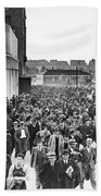 Fans Leaving Yankee Stadium. Beach Towel by Underwood Archives