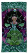 Fantasy Cat Fairy Lady On A Date With Yoda. Beach Towel