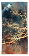 Seagull Gothic Fantasy Surreal Trees And Seagull Flying Beach Towel