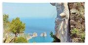 Faraglioni Rocks From Mt Solaro Capri Beach Towel