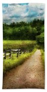 Farm - Fence - Every Journey Starts With A Path  Beach Towel