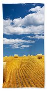 Farm Field With Hay Bales Beach Towel