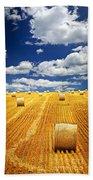 Farm Field With Hay Bales In Saskatchewan Beach Towel