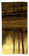 Farm Pond Reflections Beach Towel