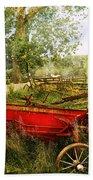 Farm - Tool - A Rusty Old Wagon Beach Towel by Mike Savad