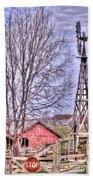 Farm - Windmill - Red Barn Farm - Missouri Beach Towel