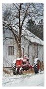 Farmall Tractor In Winter Beach Towel