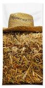 Farmer Hat On Hay Bale Beach Towel
