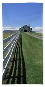 Farmhouse And Fence Beach Towel by Frank Romeo