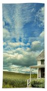 Farmhouse By Cornfield Beach Towel