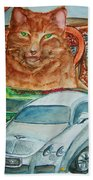Fat Cat And The Bentley Beach Towel