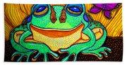 Fat Green Frog On A Sunflower Beach Sheet
