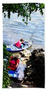 Father And Son Launching Kayaks Beach Towel