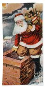 Father Christmas Popping Down The Chimney To Deliver Gifts To The Good.  Beach Towel