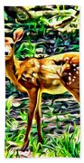 Fawn In The Woods Beach Towel