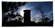 Fct1 Fire Control Tower 1 In Silhouette Beach Towel