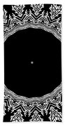Feathers And Circles Kaleidoscope In Black And White Beach Towel