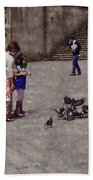 Feeding Pigeons In Santiago De Compostela Beach Towel by Mary Machare