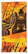 Feel Emotion Yellow And Black Beach Towel