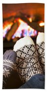 Feet Warming By Fireplace Beach Towel