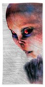 Female Alien Portrait Beach Towel