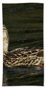 Female Mallard And Duckling Beach Towel