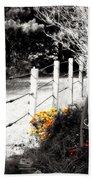 Fence Near The Garden Beach Towel